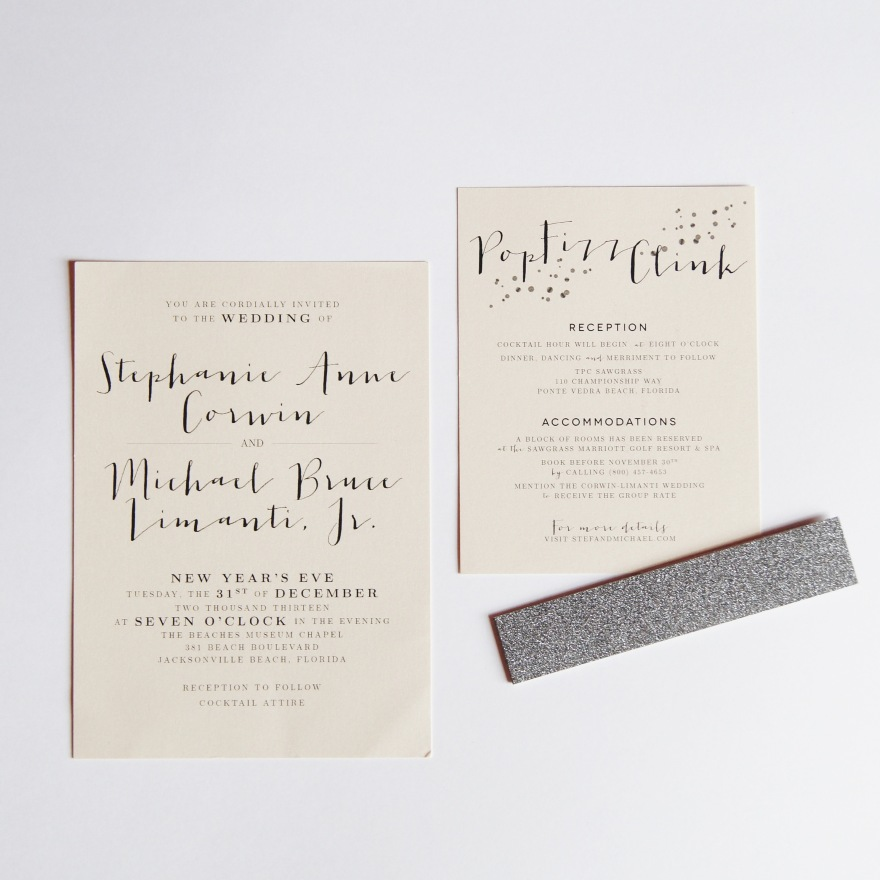 Wedding Invitation Suite | Stef + Michael Ponte Vedra Beach New Year's Eve Wedding